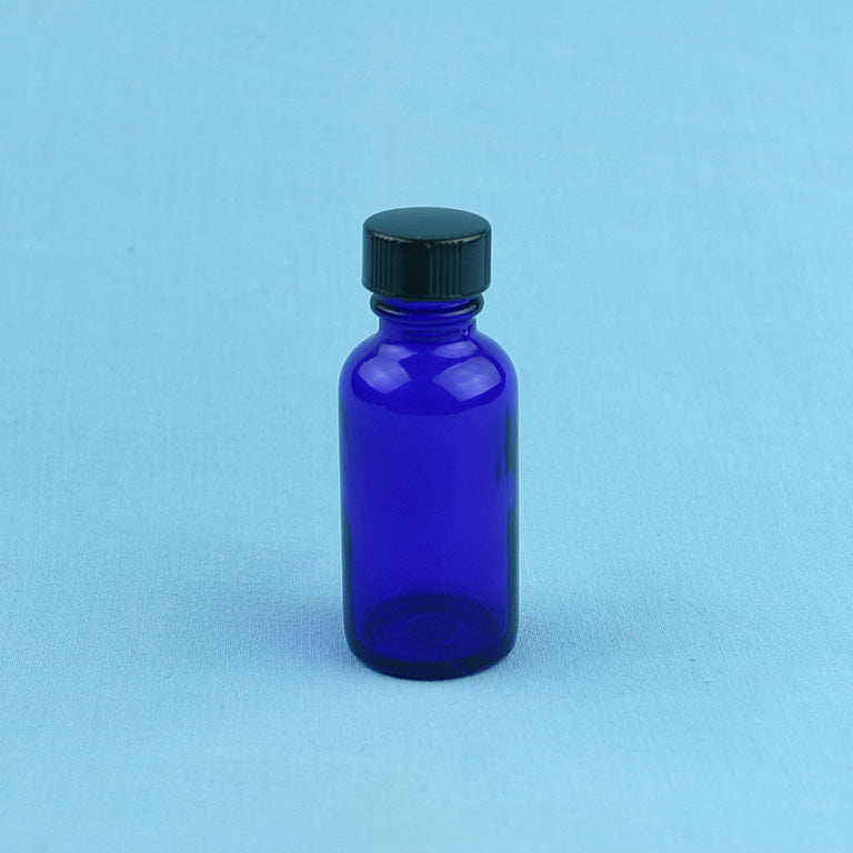30 mL Boston Round Cobalt Blue Solution Bottle - Avogadro's Lab Supply