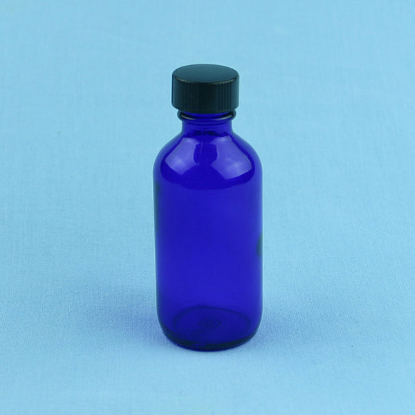 60 mL Boston Round Cobalt Blue Solution Bottle - Avogadro's Lab Supply