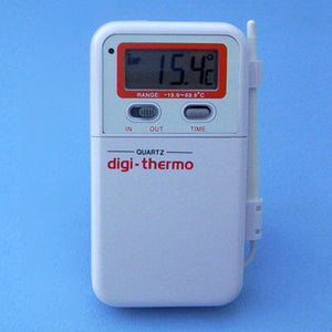 Digital Probe Thermometer w/ Clock -19.9 to 69.9 C - Avogadro's Lab Supply