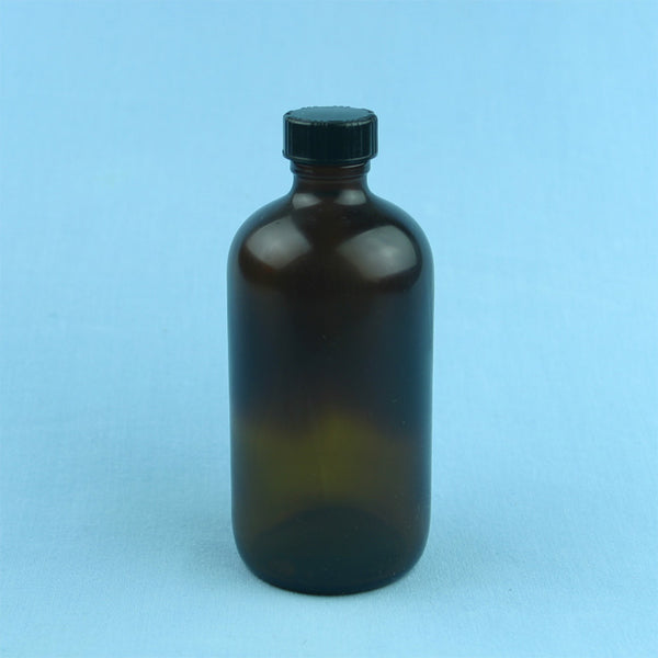 240 mL Boston Round Amber Safety Coated Solution Bottle - Avogadro's Lab Supply