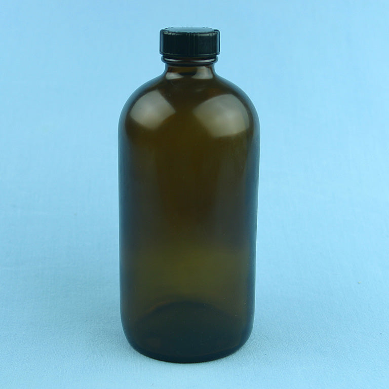 480 mL Boston Round Amber Safety Coated Solution Bottle - Avogadro's Lab Supply