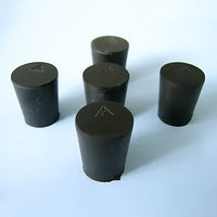 Size 2 Black Rubber Stoppers (Count 5) - Avogadro's Lab Supply
