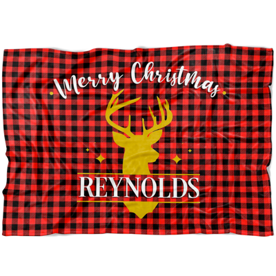 Reindeer Personalized Christmas Family Blanket