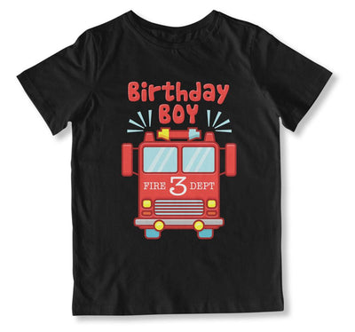 Birthday Boy Fire Truck 3 T-Shirt - BTH-135 - GiddyBees