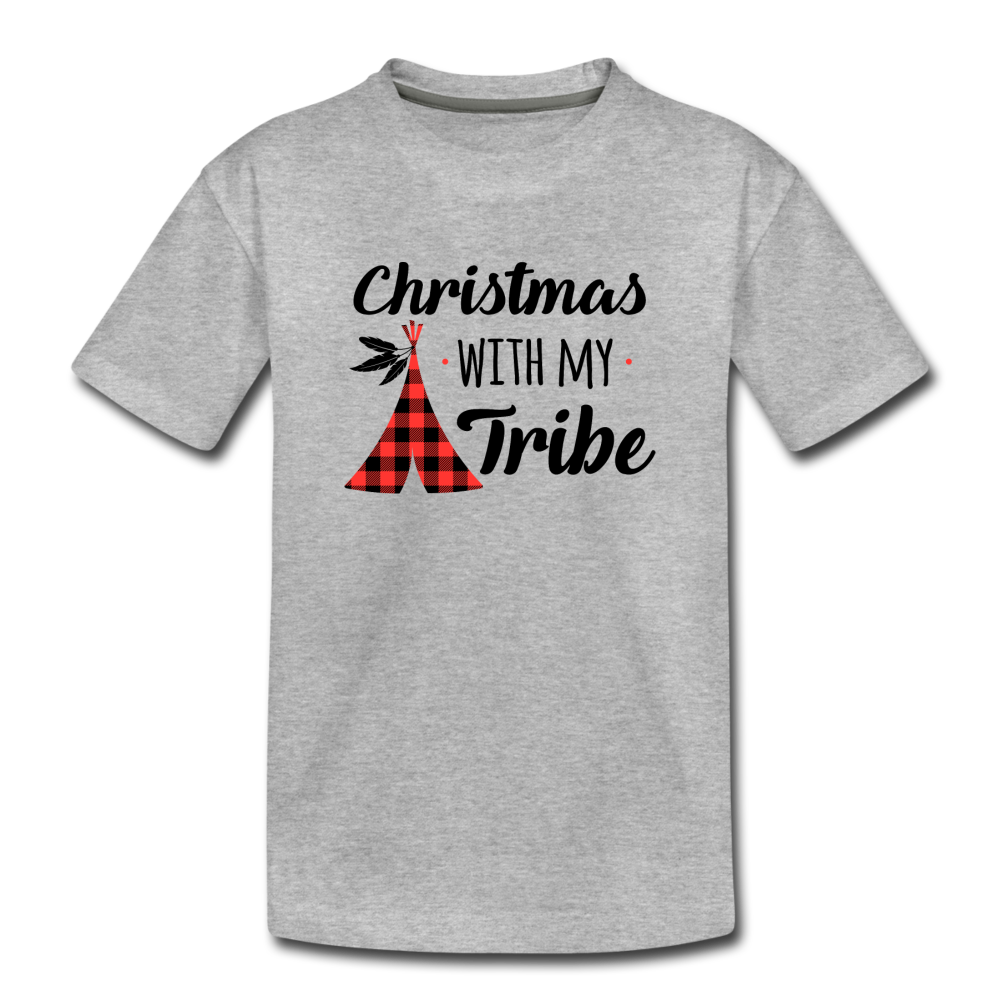 Christmas With My Tribe Toddler Tee - heather gray