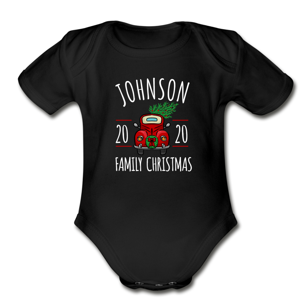 Family Christmas Baby Bodysuit - black