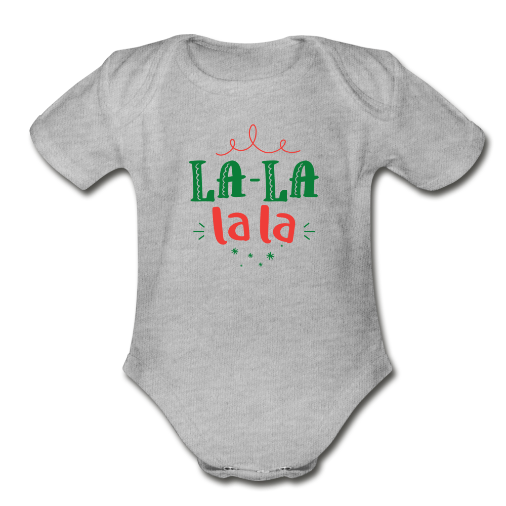 La La Christmas Carol Baby Bodysuit - heather gray