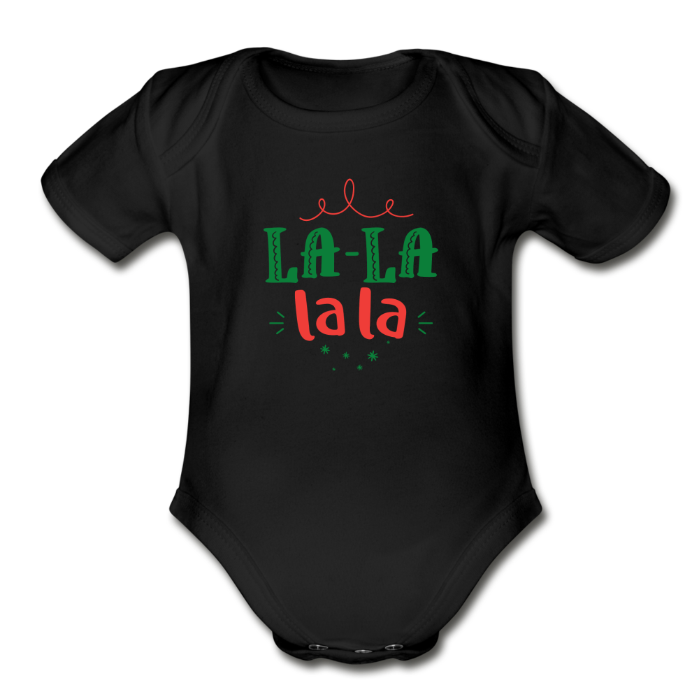 La-La Christmas Baby Bodysuit - black