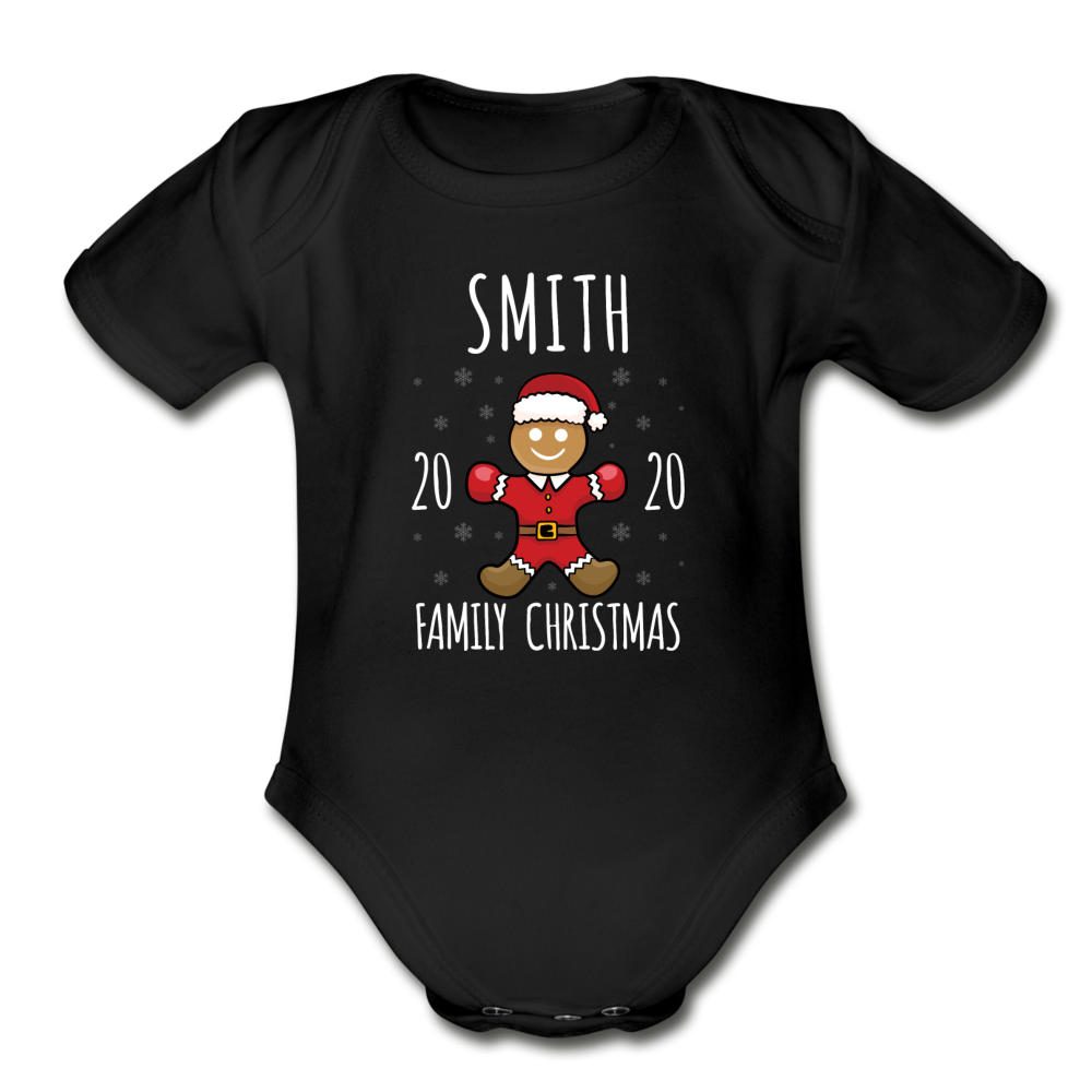 Christmas Gingerbread Baby Bodysuit - black