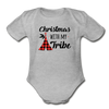 Christmas With My Tribe Baby Bodysuit - heather gray