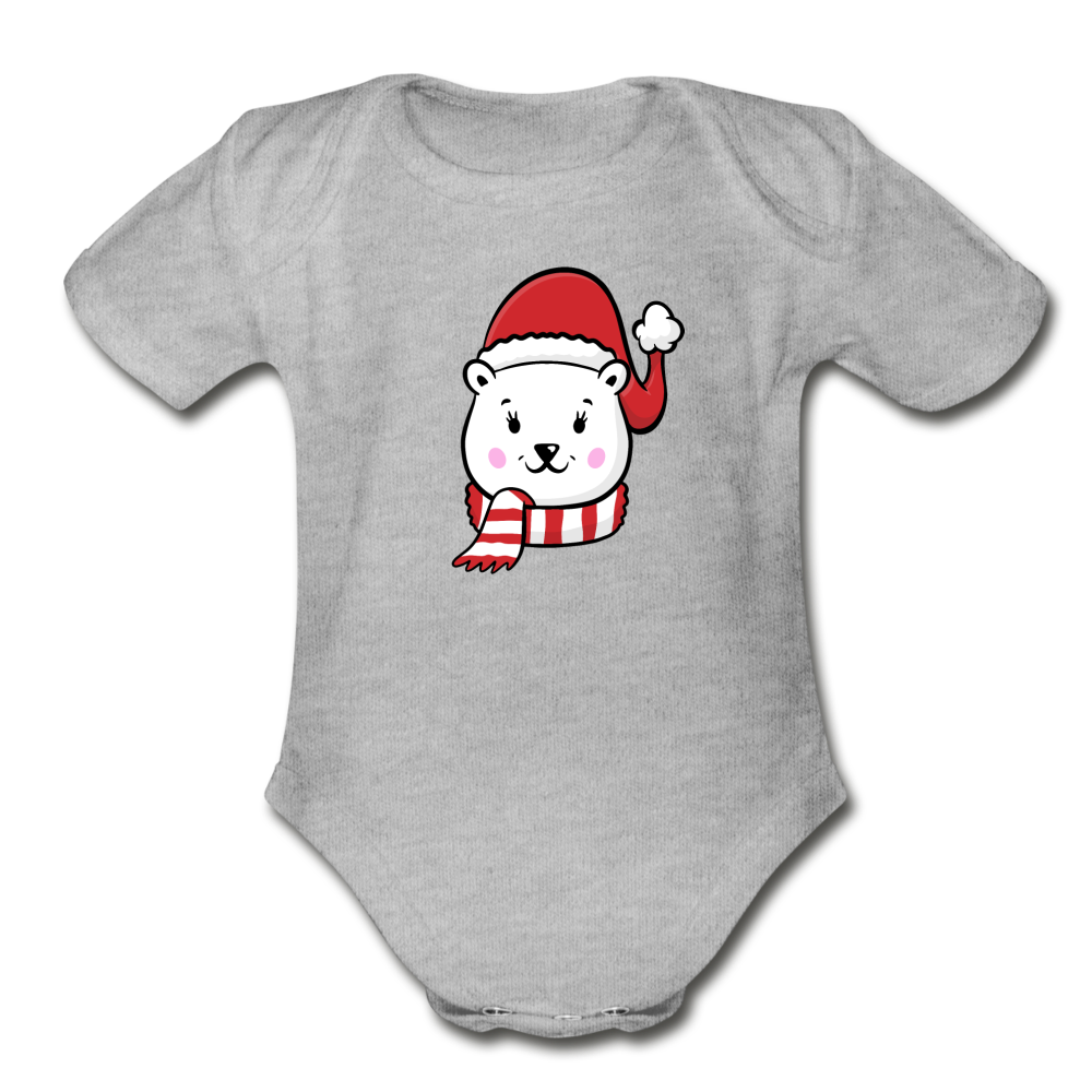 Polar Bear Girl Baby Bodysuit - heather gray