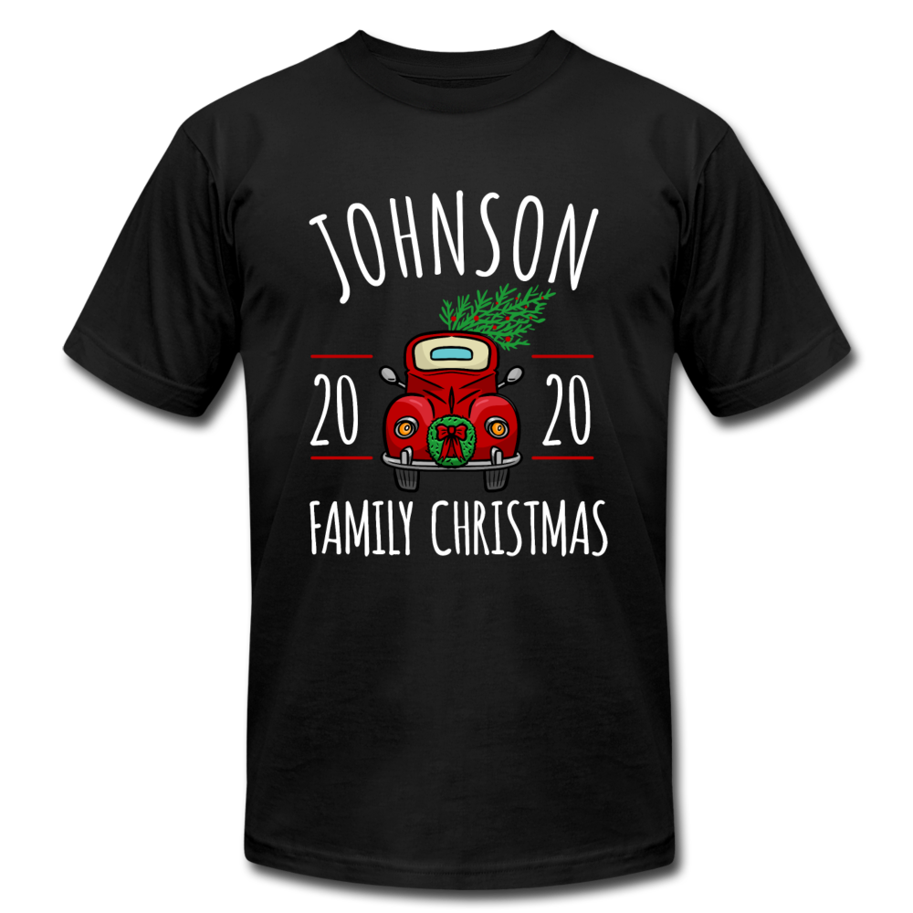 Family Christmas Custom Unisex Tee - black