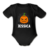 Scary Baby Pumpkin Face Baby Bodysuit - black