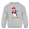 Kids Penguin Christmas Sweater - heather gray