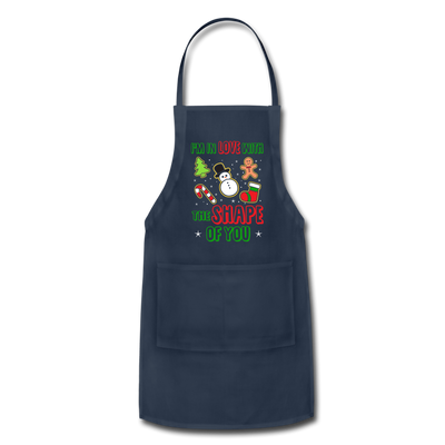 I'm In Love With The Shape Of You Christmas Apron - navy