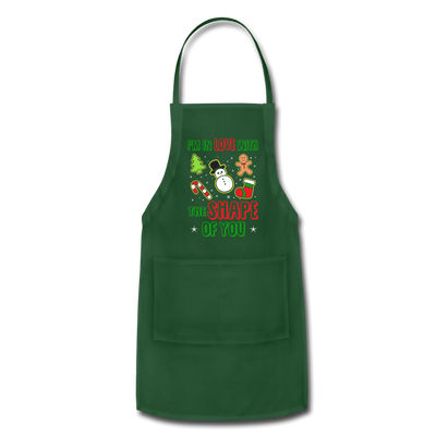 I'm In Love With The Shape Of You Christmas Apron - forest green