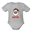 Sister Plaid Santa Baby Bodysuit - heather gray