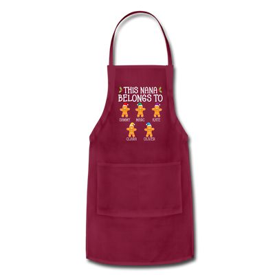 Customized Nana Gingerbread Christmas Apron - burgundy