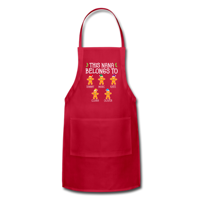 Customized Nana Gingerbread Christmas Apron - red
