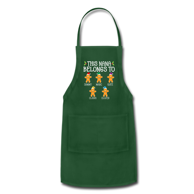 Customized Nana Gingerbread Christmas Apron - forest green