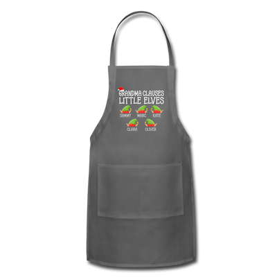 Grandma Clauses Little Elves Christmas Apron - charcoal
