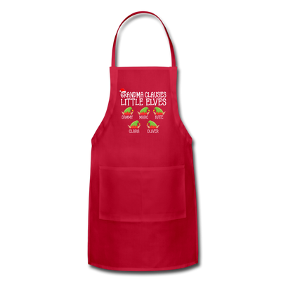 Grandma Clauses Little Elves Christmas Apron - red