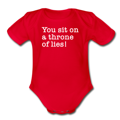 Funny Christmas Movie Quote Throne Of Lies Baby Bodysuit - red