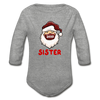Sister Plaid Santa Long Sleeve Baby Bodysuit - heather gray