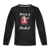 Merry & Masked Christmas Youth Long Sleeve Shirt - black
