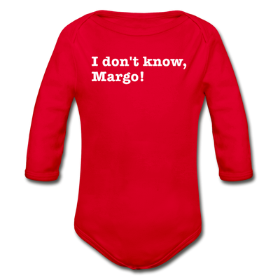 Don't Know Margo Christmas Movie Long Sleeve Baby Bodysuit - red