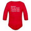 Santa Omg I Know Him Christmas Movie Long Sleeve Baby Bodysuit - red