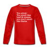 Beef & Cheese Christmas Movie Youth Long Sleeve Shirt - red