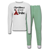 Christmas With My Tribe Adult Pajama Set - white/green stripe