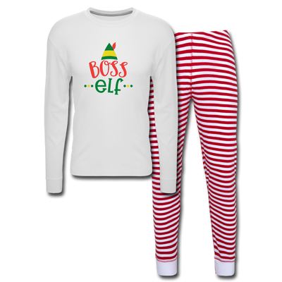 Boss Elf Unisex Pajama Set - white/red stripe