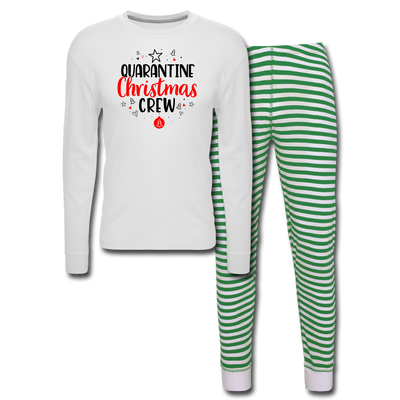 Quarantine Christmas Crew Adult Pajama Set - white/green stripe