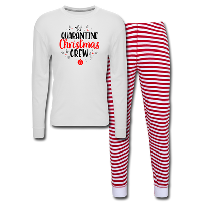 Quarantine Christmas Crew Adult Pajama Set - white/red stripe