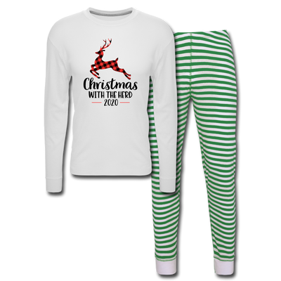 Christmas With My Herd Unisex Pajama Set - white/green stripe