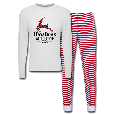 Christmas With My Herd Unisex Pajama Set - white/red stripe