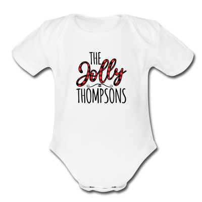 The Jolly Custom Christmas Family Name Baby Bodysuit - white