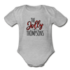 The Jolly Custom Christmas Family Name Baby Bodysuit - heather gray