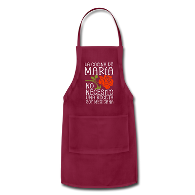 Personalized Mexican Mom Apron - burgundy
