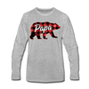 Buffalo Plaid Papa Bear - Adult Long Sleeve Tee - heather gray