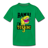 Rawr I'm Turning 3 Kids Birthday - Toddler Tee - kelly green