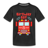 5th Birthday Fire Department - Youth Tee - black