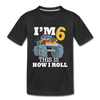 6th Birthday Boy Monster Truck - Youth Tee - black