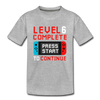 6th Birthday Level Complete Video Game - Youth Tee - heather gray