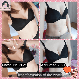 natural breast enlargement results from Bella's Cream