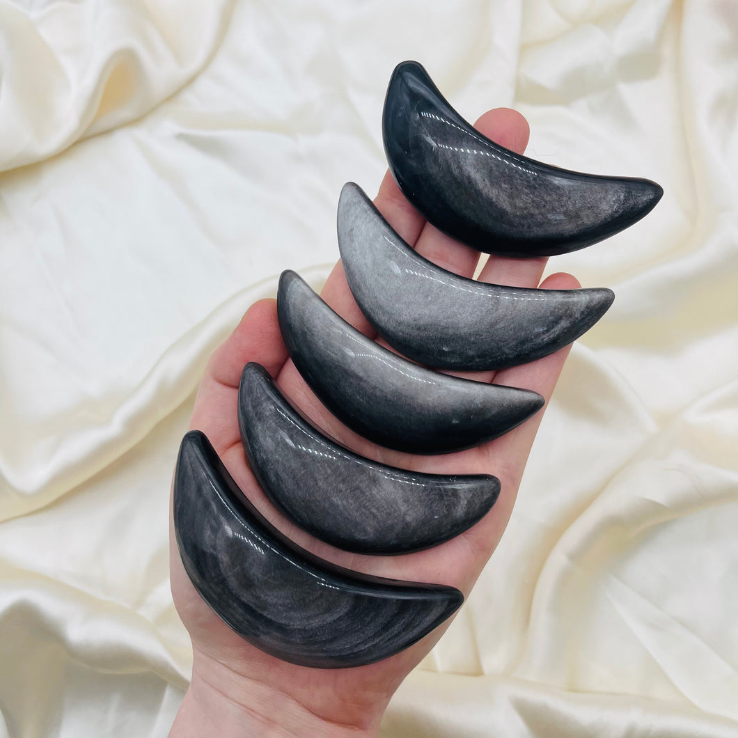 ONE Large Silver Sheen Obsidian Moon