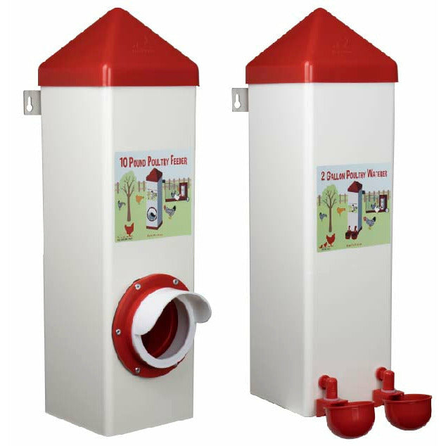 10-Pound Poultry Feeder & 2-Gallon Poultry Waterer Set