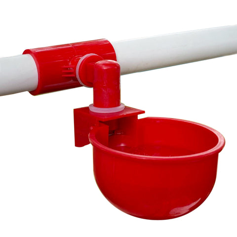 "RentACoop 4 Pack of Auto-Fill Watering Cups with Four Pack of Tees Fittings for 1/2"" PVC Piping"